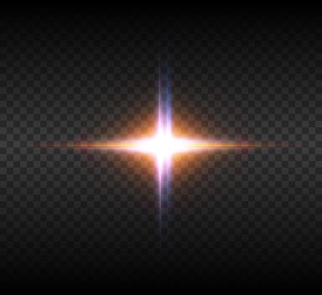 Eksplozja Wybuchu żółtego świecącego światła Z Iskierkami Promieni. Jasna Gwiazda. Premium Wektorów