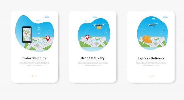 Ekspresowa usługa dostarczania dronów, quadkopter niosący paczkę nad mapą z pinem lokalizacji, mapa gps telefonu komórkowego do śledzenia przesyłki. Premium Wektorów