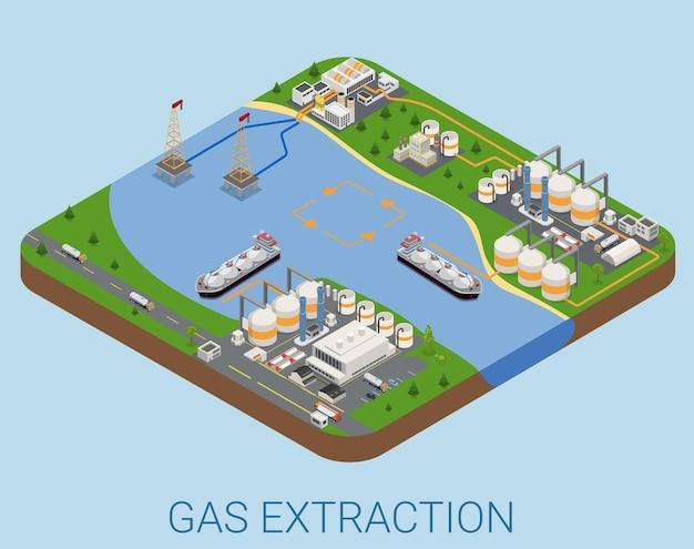 Ekstrakcja Gazu W Procesie Morskim Płaska Izometryczna Premium Wektorów