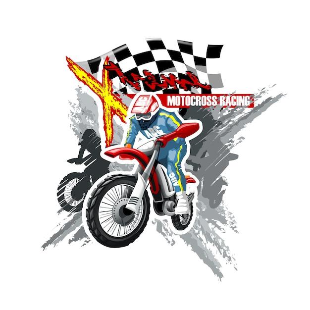 Ekstremalny czerwony off road motorbike, szablon logo x-treme. Premium Wektorów