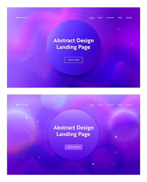 Electric Blue Abstract Circle Shape Landing Page Background. Zestaw Geometryczny Wzór Gradientu Ruchu Krzywej Różowy. Element Kreatywny Na Stronę Internetową Witryny Internetowej. Ilustracja Wektorowa Płaski Kreskówka Premium Wektorów