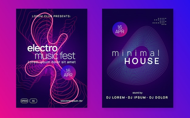 Electro Dance Dj Neon Flyer Premium Wektorów