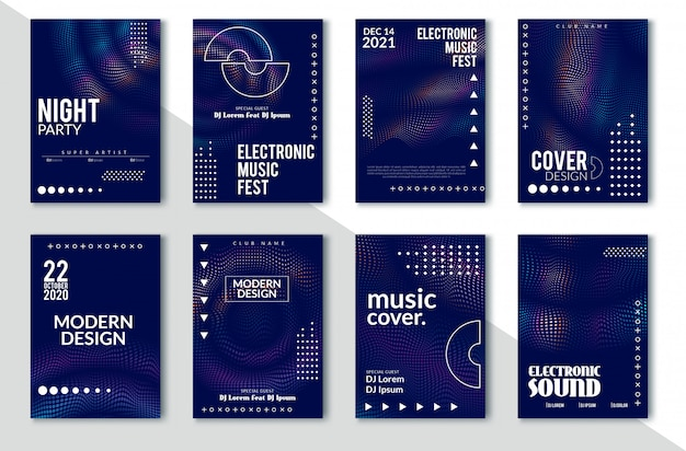 Electronic sound party poster, abstract wave distorted lines Premium Wektorów
