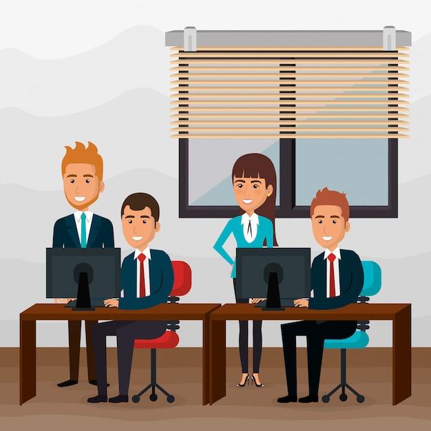Eleganccy ludzie biznesu na scenie biurowej Darmowych Wektorów