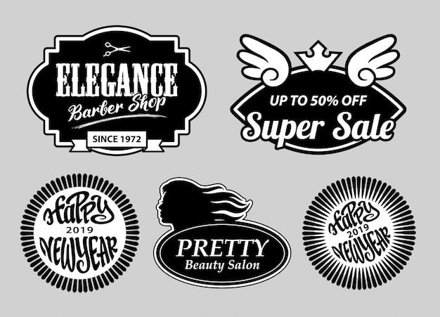 Elegancja sklep fryzjerski i odznaki nowego roku Premium Wektorów