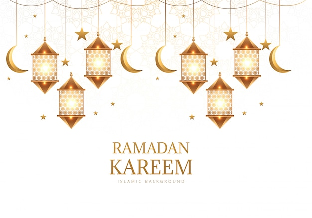 Elegancka Arabska Wisząca Latarnia Z Księżycem Ramadan Kareem W Tle Darmowych Wektorów