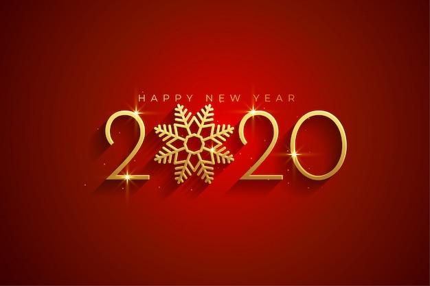 Elegancka czerwona i złota szczęśliwego nowego roku 2020 karta tło Darmowych Wektorów