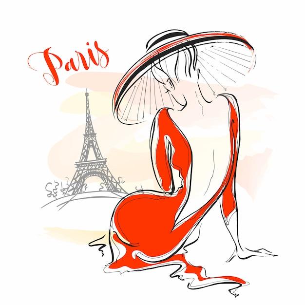 Elegancka dziewczyna w kapeluszu w paryżu. stylowy model. Premium Wektorów
