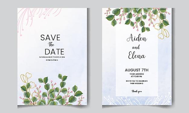 Elegancka Karta Kwiatowy Zaproszenie Akwarela Z Liści Eucaliptus Premium Wektorów