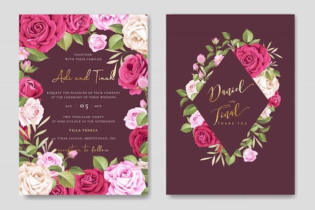 Elegancka karta ślubu z kwiatów i liści szablonu Premium Wektorów