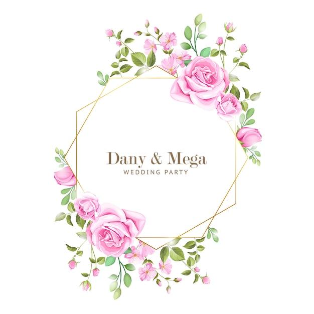 Elegancka karta ślubu z ramą kwiatów i liści Premium Wektorów