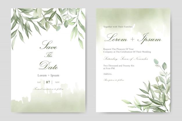 Elegancka karta szablon zaproszenia ślub liści akwarela Premium Wektorów