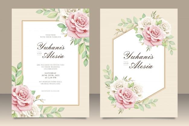 Elegancka karta zaproszenie na ślub z bukietem kwiatów Premium Wektorów