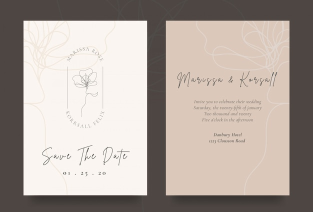 Elegancka Karta Zaproszenie Na ślub Z Logo Fajnego Kwiatu Premium Wektorów