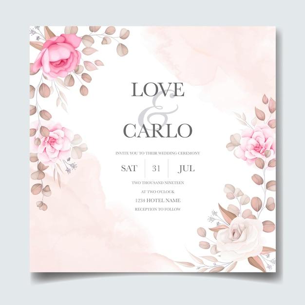 Elegancka Karta Zaproszenie Na ślub Z Pięknymi Kwiatami Darmowych Wektorów
