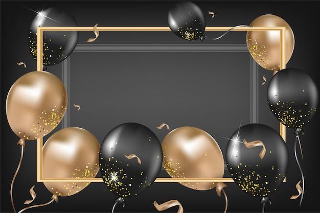 Elegancka Kartka Z Czarno-złotymi Balonami, Konfetti, Błyszczy Na Czarnym Tle. Szablon Dla Sieci Społecznościowych, Zaproszeń, Promocji, Sprzedaży. . Premium Wektorów