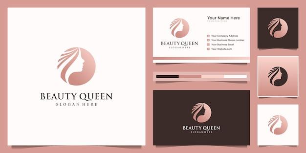 Elegancka Kobieta Salon Fryzjerski Złoty Gradient Logo Projektowania I Wizytówki Premium Wektorów