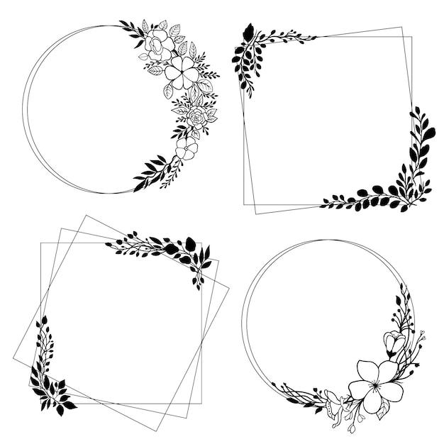 Elegancka Kolekcja Kwiatowy Ramki Darmowych Wektorów