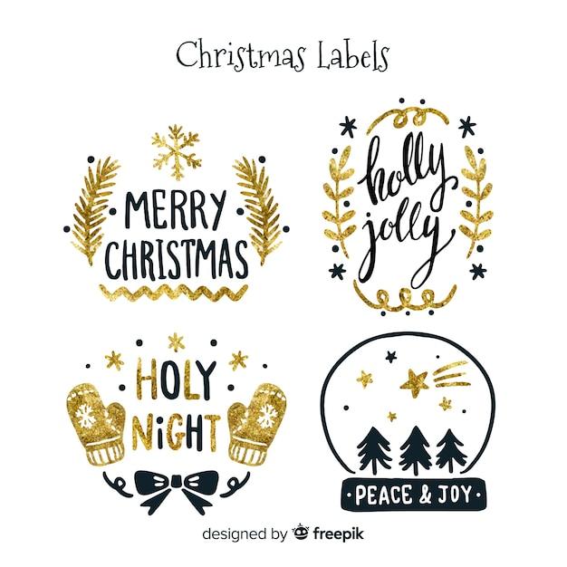 Elegancka kolekcja świątecznych etykiet z czarnym i złotym Darmowych Wektorów