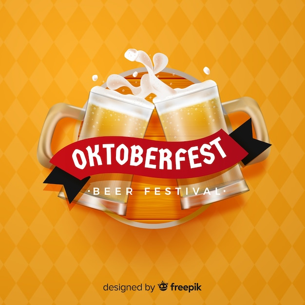 Elegancka kompozycja oktoberfestu z realistycznym designem Darmowych Wektorów