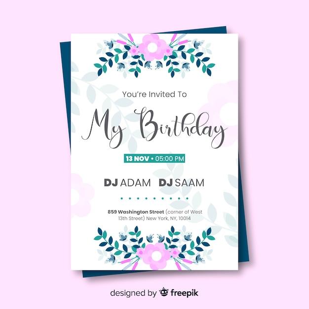 Elegancka Konstrukcja Zaproszenia Urodzinowego Darmowych Wektorów
