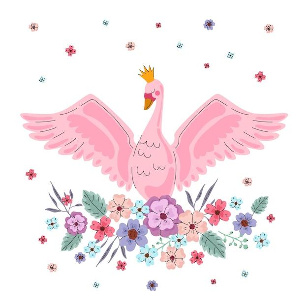 Elegancka Księżniczka Różowego łabędzia Darmowych Wektorów