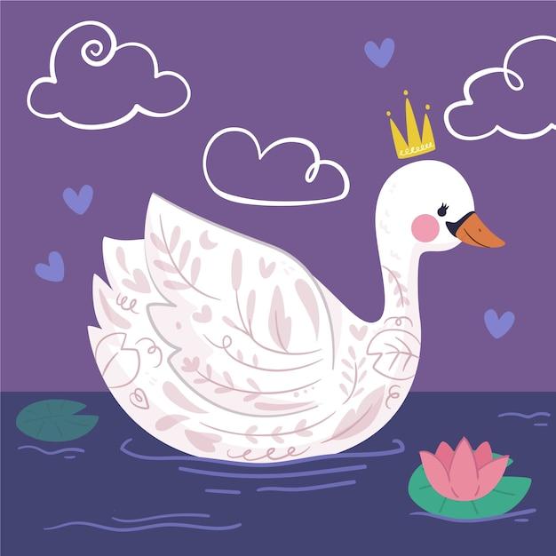 Elegancka łabędzia Księżniczka Na Jeziorze Darmowych Wektorów