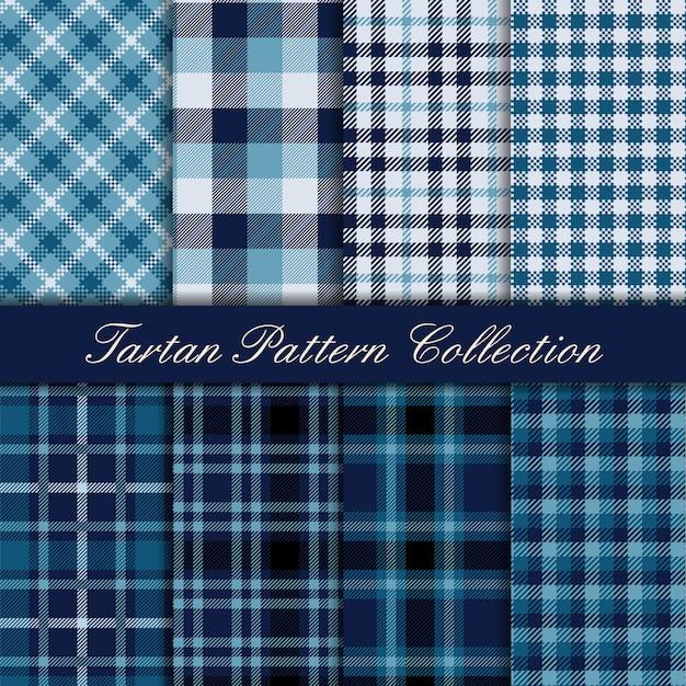 Elegancka niebieska kolekcja bezszwowych wzorów w kratę Premium Wektorów