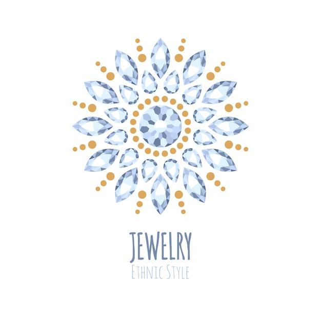 Elegancka Ozdoba Biżuterii Z Kamieni Szlachetnych. Etniczne Winiety Kwiatowe. Dobre Dla Logo Sklepu Z Biżuterią. Premium Wektorów