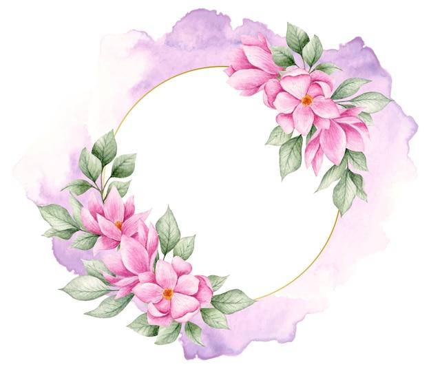 Elegancka Piękna Akwarela Kwiatowy Rama Premium Wektorów