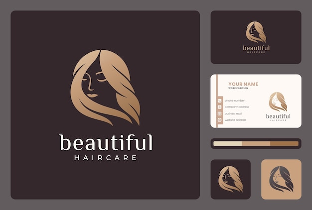 Elegancka Piękna Kobieta, Projektowanie Logo Fryzjera Z Szablonu Wizytówki. Premium Wektorów