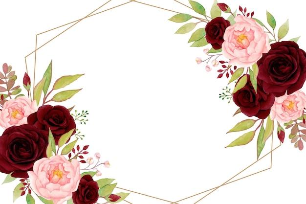 Elegancka Ramka W Kwiaty Z Czerwonymi Różami I Piwoniami Premium Wektorów