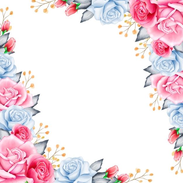 Elegancka Ramka Z Kwiatów W Akwarela Premium Wektorów