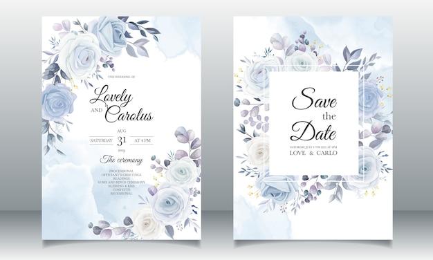 Elegancka Ręka Rysunek Zaproszenie Na ślub Kwiatowy Wzór Darmowych Wektorów