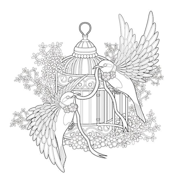 Elegancka Strona Do Kolorowania Ptaków W Wyjątkowym Stylu Premium Wektorów