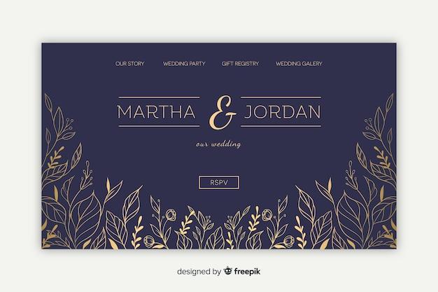 Elegancka strona docelowa ślubu Darmowych Wektorów