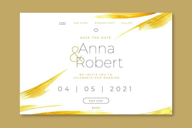 Elegancka Strona Docelowa Zaproszenia Na ślub Premium Wektorów