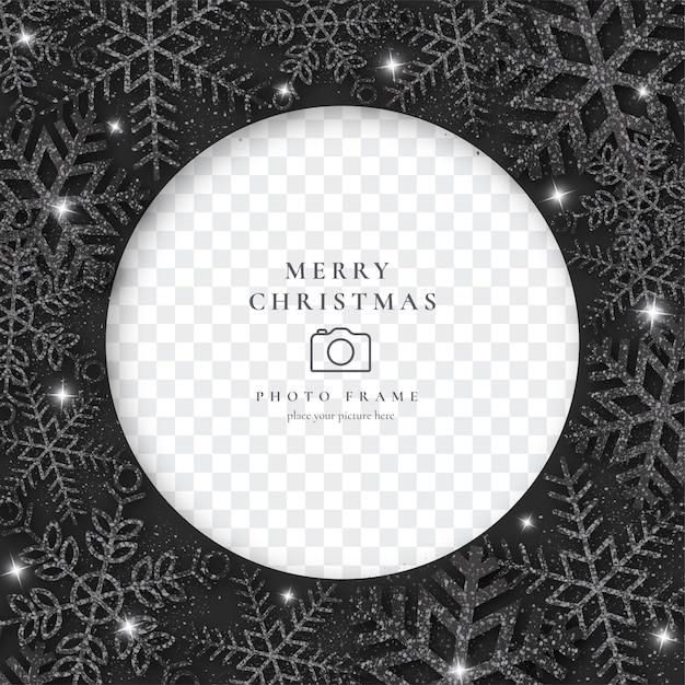 Elegancka świąteczna Ramka Na Zdjęcia Z Czarnymi Płatkami śniegu Darmowych Wektorów