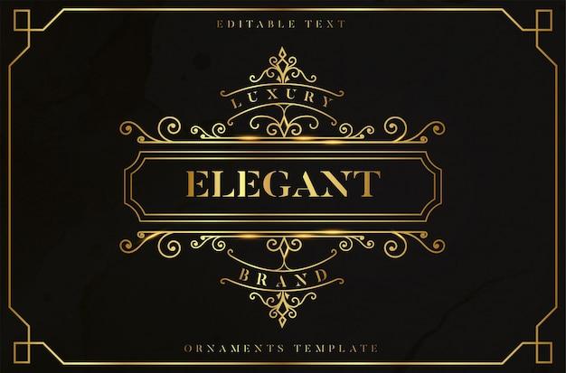 Elegancka Złota Ramka Ornament Z Edytowalnym Złotym Efektem Tekstowym Darmowych Wektorów