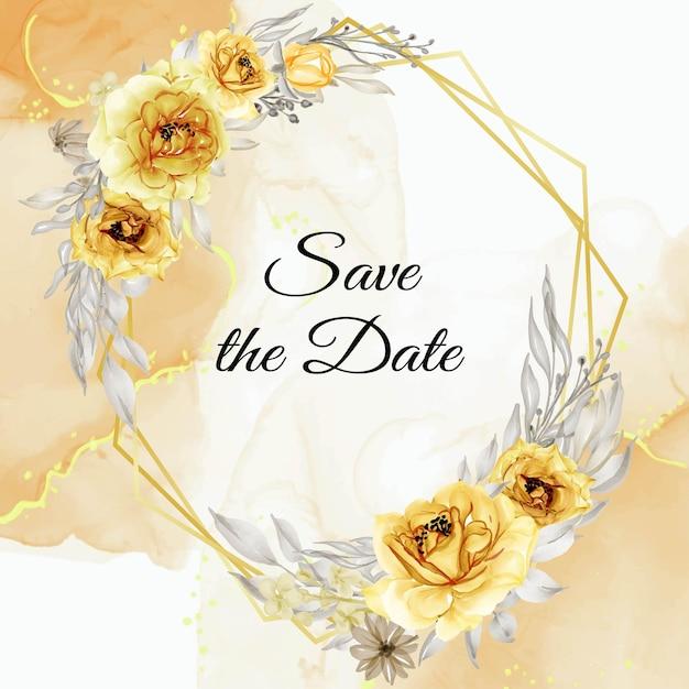 Elegancka Złota żółta Róża Kwiat Wieniec Akwarela Premium Wektorów
