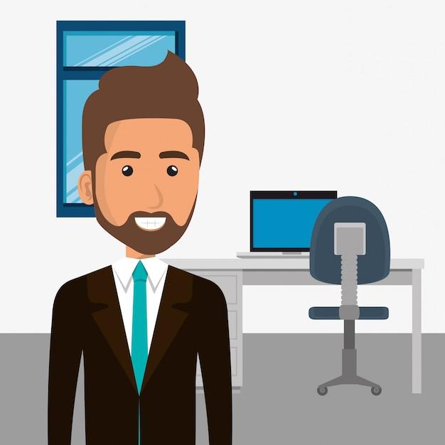 Elegancki biznesmen w scenie biurowej Darmowych Wektorów