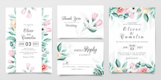 Elegancki botaniczny ślub zaproszenia szablonu zestaw kolorowych kwiatów akwarela Premium Wektorów