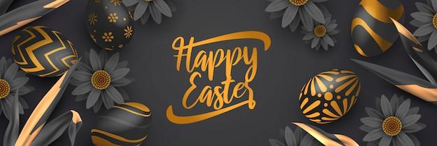 Elegancki Czarno-złoty Transparent Wielkanocny Premium Wektorów