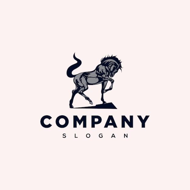 Elegancki design logo konia Premium Wektorów