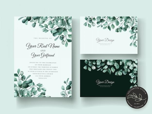 Elegancki Eukaliptusowy Zestaw Zaproszenia ślubne Darmowych Wektorów