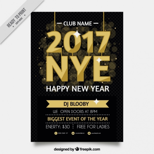 Elegancki Hotel Golden Sylwestra Party Plakat Wektor Darmowe