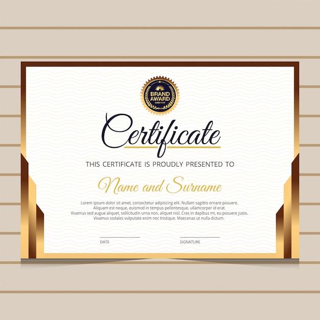 Elegancki I Złoty Szablon Certyfikatu Dyplomu Premium Wektorów