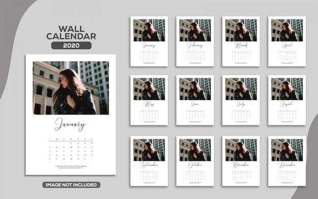 Elegancki kalendarz ścienny 2020 Premium Wektorów
