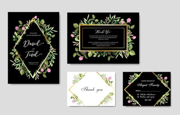 Elegancki kwiatowy i liście szablon karty ślubu i zaproszenia Premium Wektorów