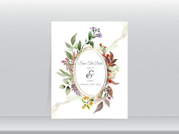 Elegancki Kwiatowy Ręcznie Rysowane Szablon Zaproszenia ślubne Złoty Wieniec Premium Wektorów